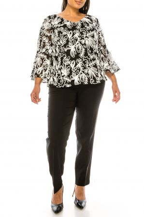 Alex Evenings Black White 3/4 Bell Sleeve Top (PLUS SIZE)