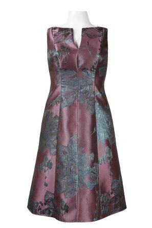 Adrianna Papell Day Split Neck Sleeveless Zipper Back Floral Metallic Jacquard Dress (Petite)