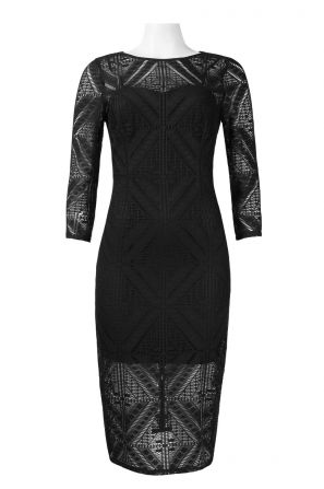 Adrianna Papell Day Crew Neck 3/4 Sleeve ZIpper Back Lace Dress