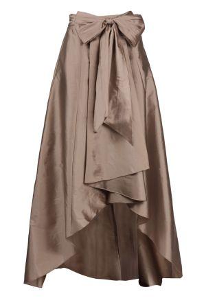 Adrianna Papell Mid Waist Tie Waist Pleated High Low Hem Tafetta Skirt.