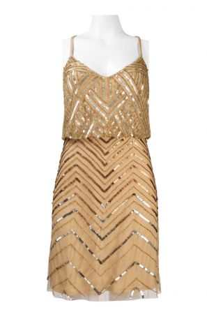 Adrianna Papell Crossed Strap Sequined Chevron Pattern Mesh Cocktail Dress