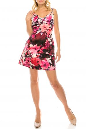 Adrianna Papell V-Neck Sleeveless Zipper Back Floral Print Mikado Dress