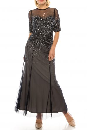 Adrianna Papell Half Sleeve Sequin Illusion Mesh Dress (Petite)