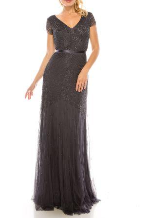 Adrianna Papell Gunmetal Beaded Sheath Evening Dress
