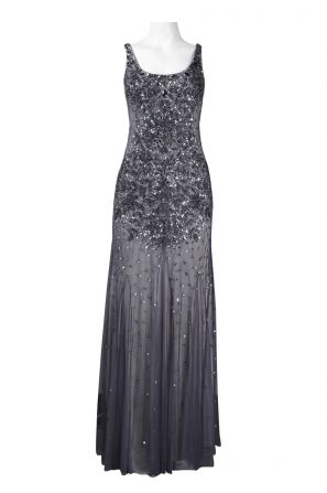 Adrianna Papell Square Neck Bead and Sequin Flutter Hem Mesh Long Dress