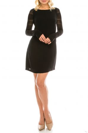 Adrianna Papell Long Lace Sleeve Tunic Crepe Short Dress