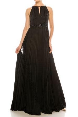 Adrianna Papell Halter Neck Pleated Keyhole Front Embellished Waist Accordion Pleat Satin Chiffon Lace Dress