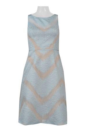 Adrianna Papell Boat Neck Sleeveless Piping Detail Zipper Back Chevron Pattern Jacquard Dress