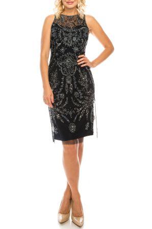 Adrianna Papell Midnight Filigree Beaded Sheath Evening Dress