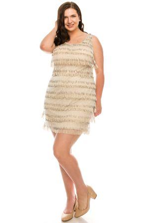 Adrianna Papell Nude Sleeveless Allover Beaded Fringed Dress