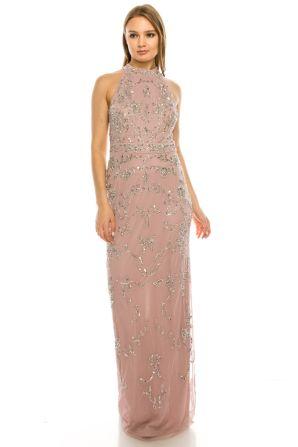 Adrianna Papell Dusty Petal Filigree Beaded Halter Long Evening Dress