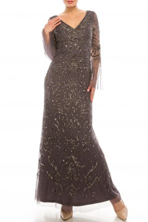 Adrianna Papell Moonscape Beaded Long Sleeve Gown
