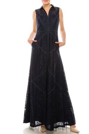 Aidan Mattox Collared Sleeveles Piping Detail Floral Lace Dress