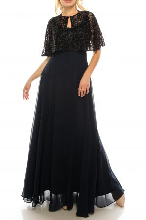 Aidan Mattox Twilight Black Beaded Long Circle Evening Cape Dress