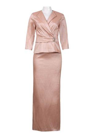 Alex Evenings Overlap Collar Brooch Detail Top Ankle Length Tafetta Skirt Set