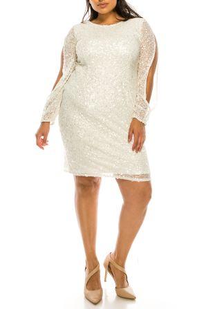 Adrianna Papell Ivory Long Sleeve Short Evening Dress