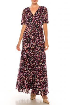 Donna Morgan Navy Pink Animal Print Short Sleeve Maxi Dress
