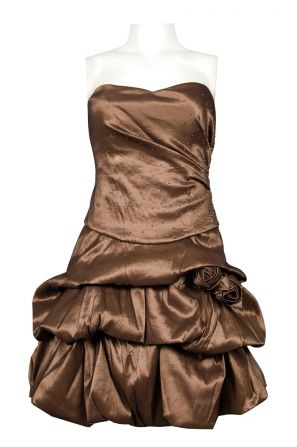 NV Couture Strapless Gathered Tiers Taffeta Dress with Rosette