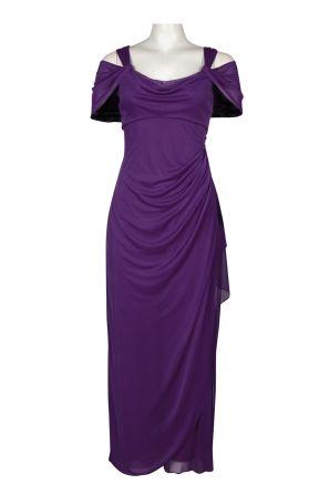 Alex Evenings Off Shoulder Draped Side Chiffon Dress (Petite)