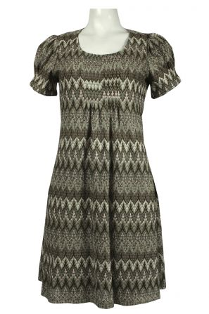 Jessica Howard Pleated Front Chevron Print Knit Dress in Olive Green