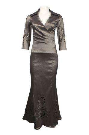 Karen Miller Surplice Neckline Laser Cut Iridescent Satin Dress
