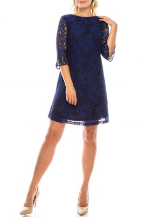 Jessica Howard Navy Two-Tone Floral Lace Sheath Dress with Bell Sleeves