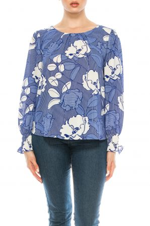 Jessica Rose Printed Blouse with Slightly Puffed Sleeves