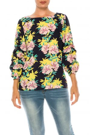 Jessica Rose Floral Printed Blouse with Scrunched Voluminous Sleeves