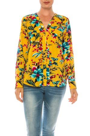 Jessica Rose Multi Print Long Sleeve Blouse