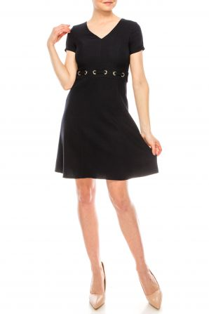 London Times Navy Short Sleeve A-Line Dress