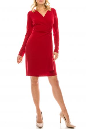 London Times Ruby Red Crepe Jersey Faux Wrap Dress with Waist Embellishment