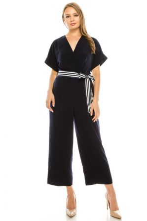 Maggy London Navy Striped Belted Faux Wrap Jumpsuit