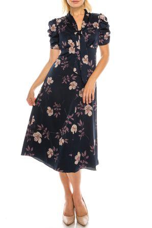 Maggy London Navy Lavender Floral Printed Satin Midi Dress