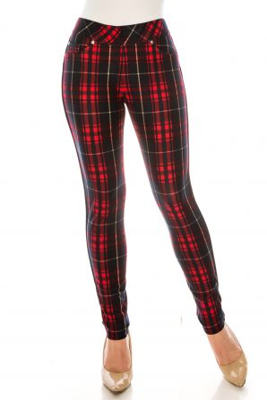 Nygard Navy Red Plaid Ankle Legging