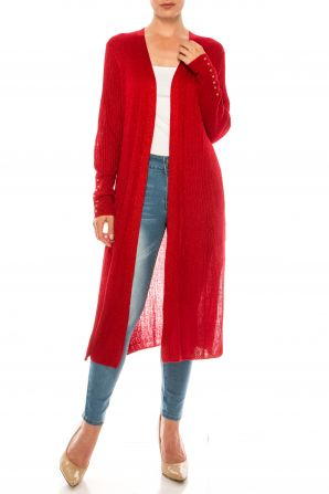Nygard Red Matallic Long Sleeve Cardigan