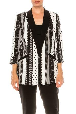 Nygard Black White Multi Print 3/4 Sleeve Blazer