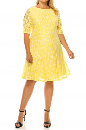 Phase Seven Short Sleeve Lace A-Line Dress