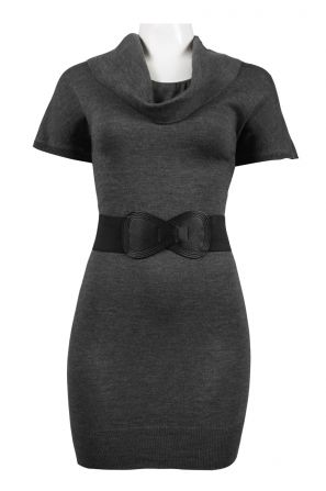 Signature by Robbie Bee Cowl Necline Stretchable Belt Knit Sheath Dress