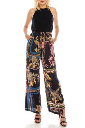 SLNY Navy Multi Floral Scarf Printed Halter Jumpsuit