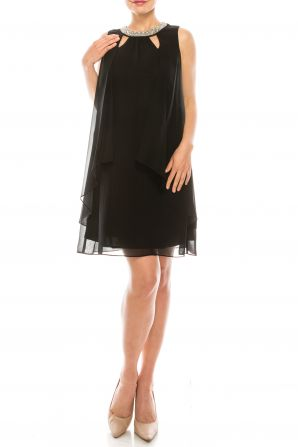 SLNY Black Layered Shift Dress with Faux Pearl Cutout Detail