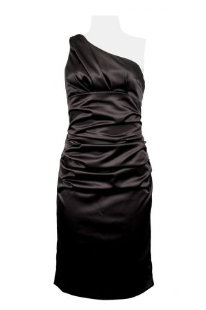 Suzi Chin for Maggy Boutique One Shoulder Satin Ruched Dress (Petite)