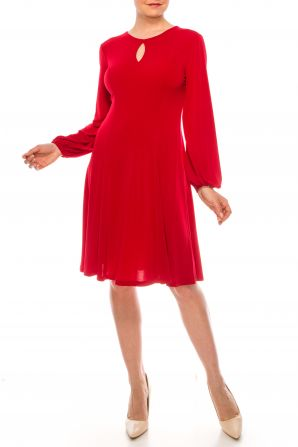 London Times Scarlet Red Long Sleeve A-Line Day Dress
