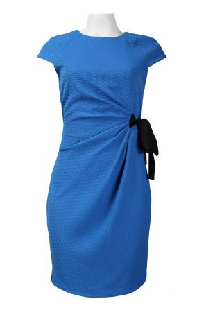 Taylor Cap Sleeve Draped Side Bow Tie Detail Textured Polyester Dress