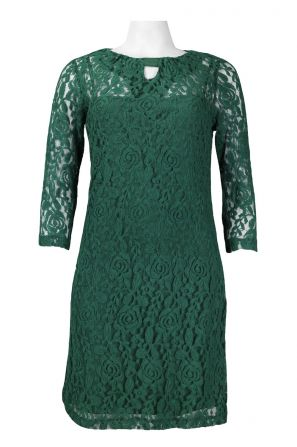Taylor 3/4 Sleeve Keyhole Pleated Neckline Floral Cotton Lace Overlay Dress