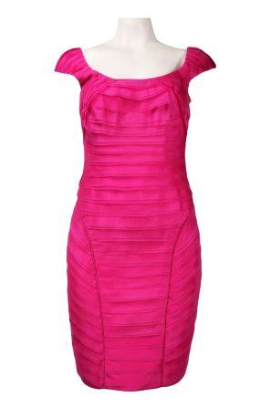 Theia Scoop Neckline Raw Edge Layered Organza Cocktail Dress