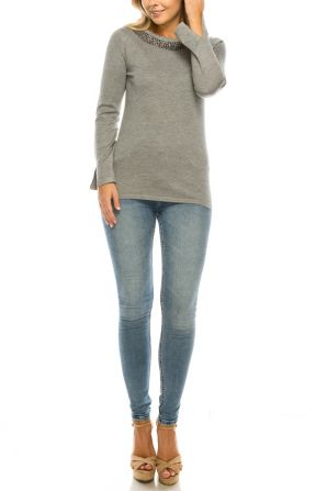Vila Milano Cotton Blend Sweater with Studded Neckline